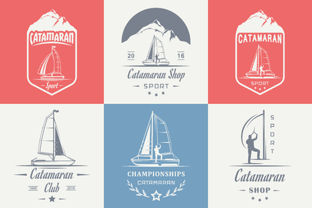 hobie: Set of yacht and catamaran     badges. Collection sign and emblems pro sailing, catamaran club and shop - Stock Vector Illustration
