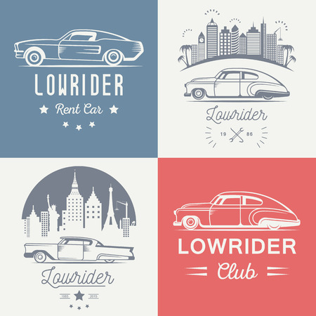 stock car: Set vintage lowrider  , badge, sign, emblems, sticers and elements design. Collection black and white classic and retro old car icon - Stock Vector Illustration