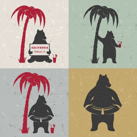 Vector Illustration Bear With Sign Welcome To California And