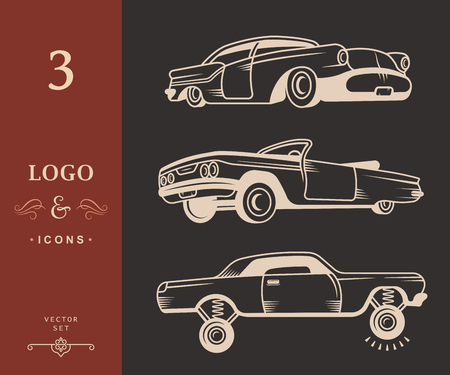 modifying: Set vintage lowrider cars and elements design. Collection black and white classic and old retro car - Stock Vector