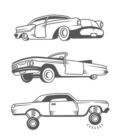 ビンテージ ロウライダー車および要素のデザインを設定します。黒と白のコレクション クラシックと古いレトロな車 - 株式ベクトル