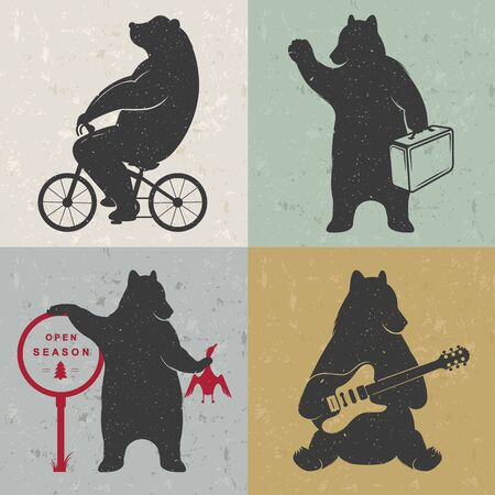 hands silhouette: Vintage fun Illustration bear on a bike, bear hunter, travel bear and bear with musical guitar. Funny bears on a white background for posters and print T-shirts