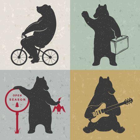 cazador: Vintage oso divertido Ilustración en una bicicleta, cazador del oso, oso de los viajes y el oso con la guitarra musical. Osos divertidos sobre un fondo blanco para imprimir carteles y camisetas Vectores