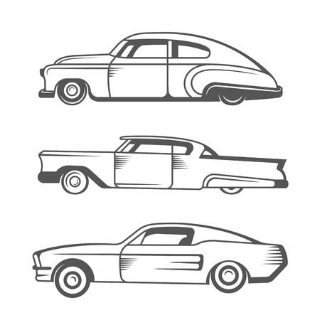 빈티지 로우 라이더 자동차 및 요소 디자인을 설정합니다. 컬렉션 흑백 클래식과 오래 된 레트로 차 - 재고 벡터