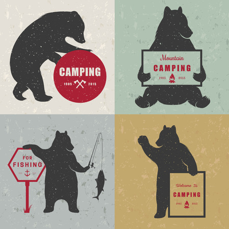 camping: Vintage Illustration bear with sign camping - Grunge effect. Funny Bear with symbol Camp and For Fishing isolated on white background for posters, camp clubs and Web emblems