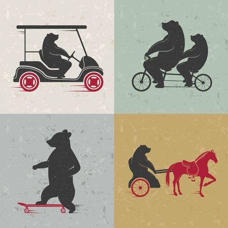 chariot: Vector Illustration Bear on a tandem bike, horse, skate on a white background. Bear Symbol for T-shirts print, labels, badges, stickers
