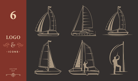 hobie: Set of yacht and catamaran. Collection sign and emblems pro sailing - Stock Vector Illustration