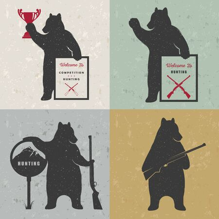 hunting season: Vector Illustration Bear Hunter with Sign Hunting on a white background. Bear Symbol Can be used for T-shirts print, labels, badges, stickers