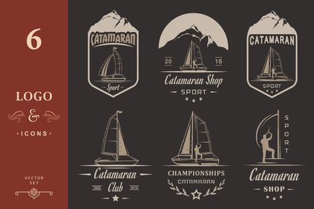 hobie: Set of yacht and catamaran  badges. Collection sign and emblems pro sailing, catamaran club and shop - Stock Vector