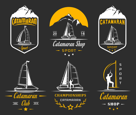hobie: Set of yacht and catamaran and badges. Collection sign and emblems pro sailing, catamaran club and shop Illustration