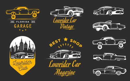 modifying: Set vintage lowrider, badge, sign, emblems, stickers and elements design. Collection black and white classic and retro old car icon