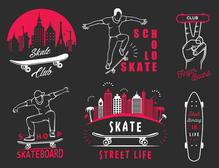 fingerboard: Set of skateboarding, badge, emblems, stickers, labels and elements of street style. Collection sign street art, street life and graffiti