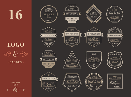 Set of vintage car symbols and sign. Car service and car sale retro labels and badges. Collection of auto design elements, frames, ribbons and emblems Illustration