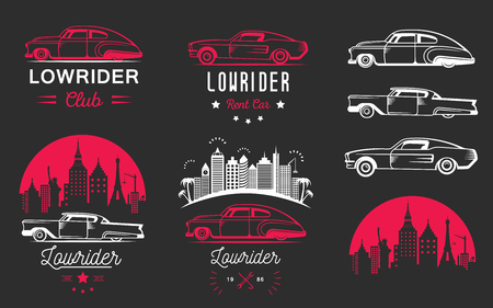 hot rod: Set vintage low rider, badge, sign, emblems, stickers and elements design. Collection black and white classic and retro old car icon Illustration