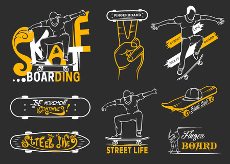 graffiti: Conjunto de emblemas de skate, de placas, etiquetas y elementos diseñados. Signo colección arte de la calle, la vida de la calle y el graffiti