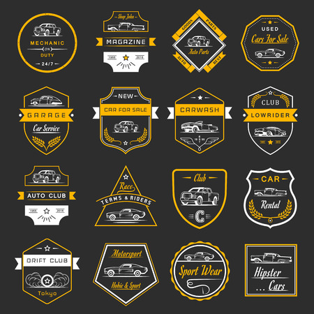 old cars: set of vintage car symbols and sign. Car service and car sale retro labels and badges. Collection of auto design elements, frames, ribbons and emblems