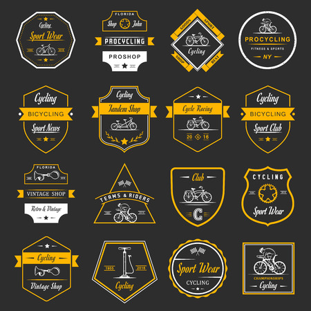 cycling: Set of vintage, modern and retro badges and labels bicycle, pro bike, shop, equipment and club. Cycling typographic sign, icons and old emblems