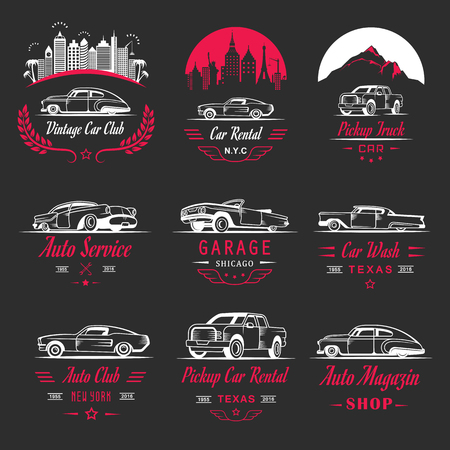 racing sign: Set of vintage car symbols and sign. Car service and car sale retro labels and badges. Collection of auto design elements, frames, ribbons and emblems Illustration