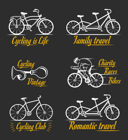 beep: Set of vintage, modern and retro badges and labels bicycle, pro bike, shop, equipment and club. Cycling typographic sign, icons and old emblems