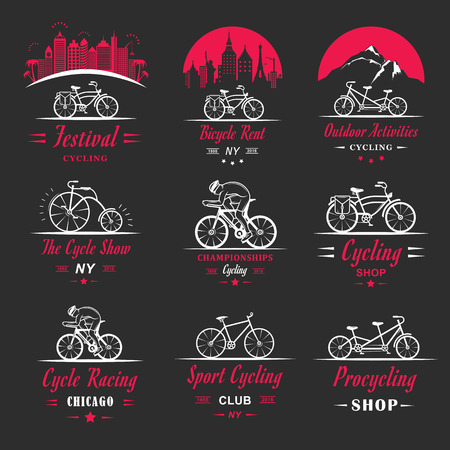 pro: Set of vintage, modern and retro badges and labels bicycle, pro bike, shop, equipment and club. Cycling typographic sign, icons and old emblems