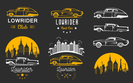 hotrod: Set vintage low rider badge, sign, emblems, stickers and elements design. Collection black and white classic and retro old car icon