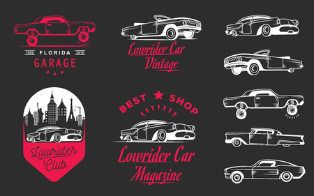old sign: Set vintage low rider badge, sign, emblems, stickers and elements design. Collection black and white classic and retro old car icon