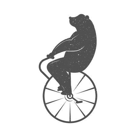 Vintage Illustration fun bear with grunge effect for posters and t-shirts. Funny bear on unicycle on a white background Illustration