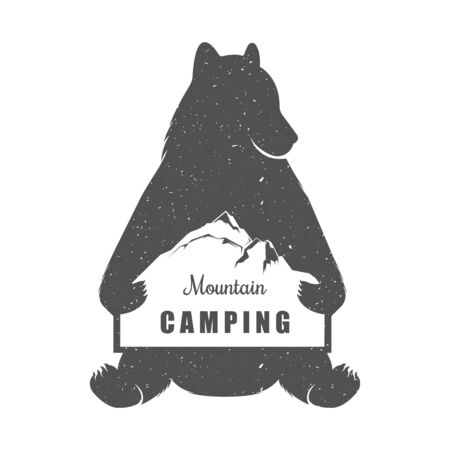 mounting: Illustration Bear Hunter with Sign Mounting Camping on a white background. Bear Symbol Can be used for T-shirts print, labels, badges, stickers
