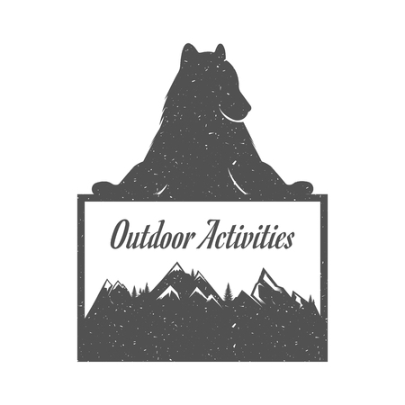 outdoor activities: Illustration Bear with Sign Outdoor Activities on a white background. Bear Symbol Can be used for T-shirts print, labels, badges, stickers Illustration