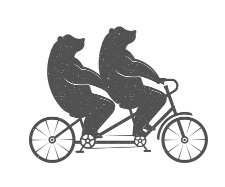 Illustration Bear on a tandem bike on a white background. Bear Symbol Can be used for T-shirts print, labels, badges, stickers Stock Illustratie