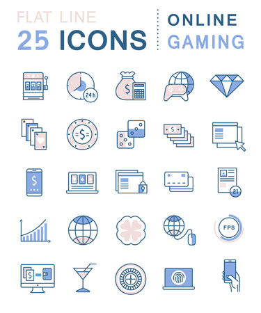 gaming: Set line icons in flat design online gaming, casino, slot machine and slots, mobile gaming with elements for mobile concepts and web apps. Collection modern infographic and pictogram