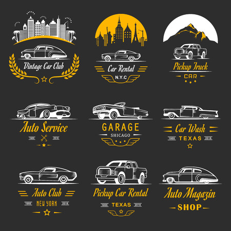 motorsports: set of vintage car symbols and sign. Car service and car sale retro labels, and badges. Collection of auto design elements, frames ribbons and emblems