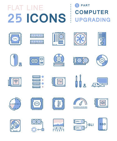 computer part: Set line icons in flat design upgrading computer and hardware, overclocking, cooling, test cpu and gpu with elements for mobile concepts and web apps. Collection modern infographic and pictogram