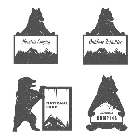 mounting: Illustration Bear with Sign Mounting Camping on a white background. Bear Symbol Can be used for T-shirts print, labels, badges, stickers