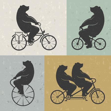 bicicleta retro: Oso Ilustraci�n de la vendimia en una bicicleta con efecto grunge. El oso divertido montar en bicicleta sobre un fondo blanco para los carteles y camisetas