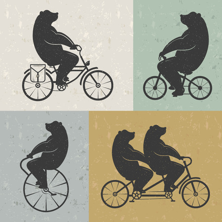 circus animal: Vintage Illustration bear on a bike with Grunge effect. Funny bear ride a bicycle on a white background for posters and T-shirts