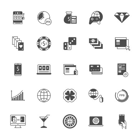 gaming: Set vector line icons online gaming