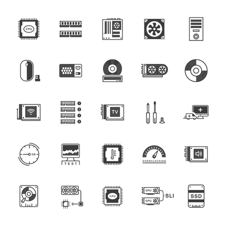 upgrading: Set vector line icons upgrading computer and hardware Illustration