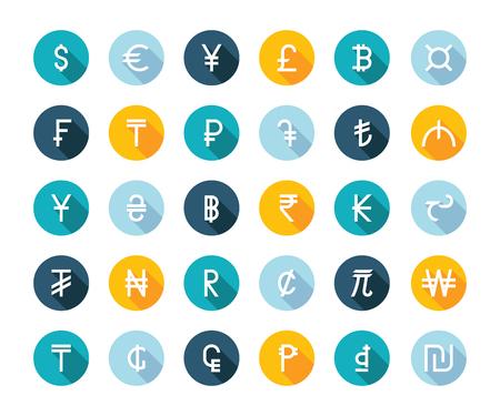 signo de pesos: Conjunto de vectores dinero símbolos de moneda del mundo sobre fondo blanco aislado. Signos de divisas que representan dinero en el mundo.