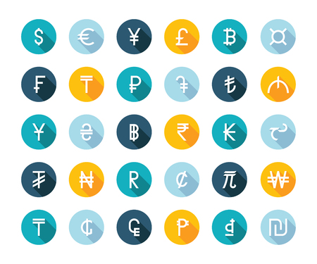 lira: Vector set currency symbols world money on white isolated background. Currency signs representing money in the world.