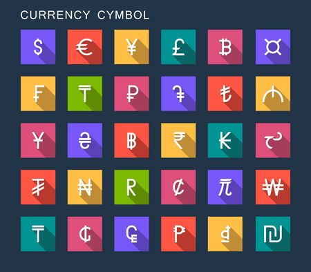 dollar icon: Vector set currency symbols world money on dark isolated background. Currency signs representing money in the world.