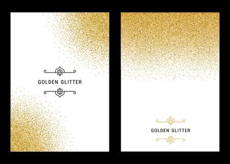 白い背景のベクトル バナーとカード ゴールドの輝き。