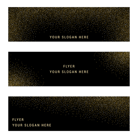 gift pattern: Vector banners and cards gold sparkles on black background.