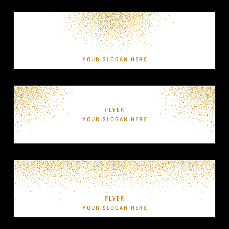 Vector banners and cards gold sparkles on white background.