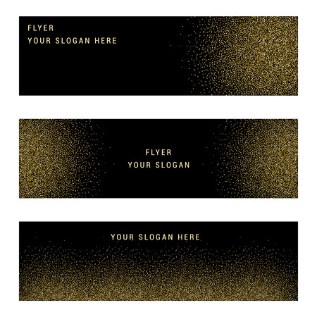 Vector banners and cards gold sparkles on black background.