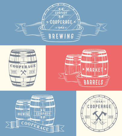 casks: Set of wooden casks with alcohol drinks badges and cooperage logo.