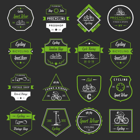 tandem bicycle: Set of vintage, modern and retro logo badges and labels bicycle