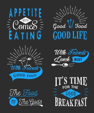 sticker design: Set of vintage food typographic quotes.