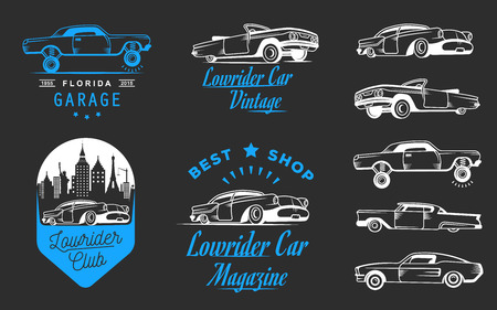 subculture: Collection blue and white classic and retro old car icon Illustration