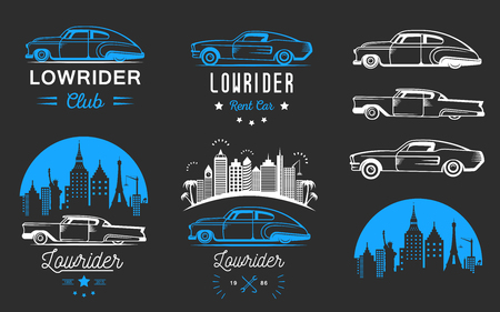 Collection blue and white classic and retro old car icon